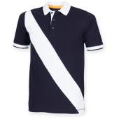 Diagonal stripe men's polo shirt navy / white s