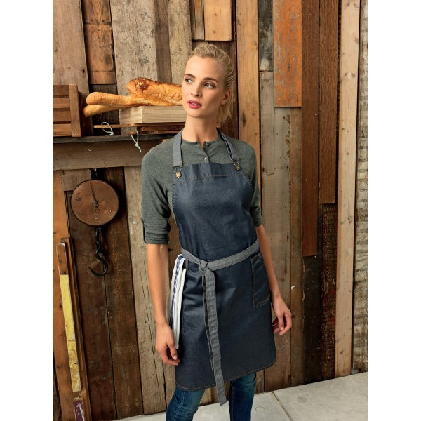 District - waxed look denim bib apron