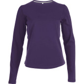 Dames t-shirt ronde hals lange mouwen purple xl