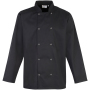 Long sleeve press stud chef's jacket black l