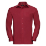 Men L/S Pure Cotton Poplin Shirt, Classic Red, M, RUS