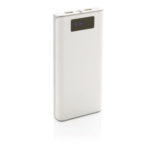 Bedrukte 20.000 mAh powerbank met display, wit