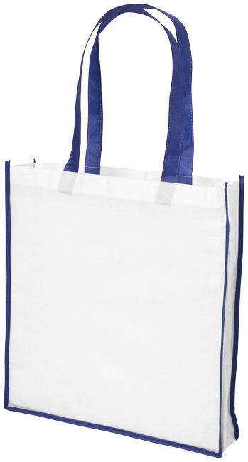 Large contrast non woven boodschappentas - Wit,blauw