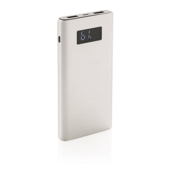Bedrukte 10.000 mAh powerbank met quick charge output, zilver