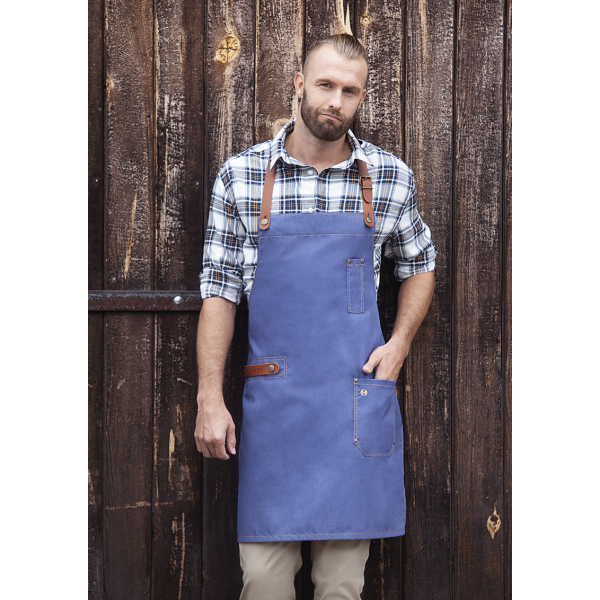 Bib Apron Jeans-Style with leather and pocket 71 x 80 cm