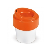 Hot-but-cool koffiebeker met deksel 240ml - Wit / Oranje