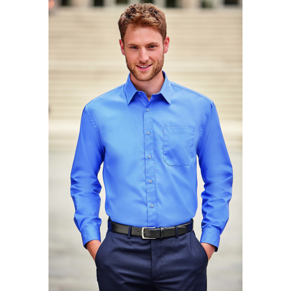 Men l/s Pure Cotton Easy Care Poplin Shirt
