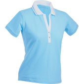 Ladies' Elastic Polo Short-Sleeved - lagune/wit
