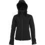 Dames afneembare hooded softshell jas black 4xl