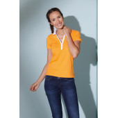 Ladies' Elastic Polo Short-Sleeved - zwart