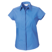 Ladies Cap Sleeve PolyCotton Easy Care Fitted Poplin Shirt