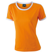 Ladies` Flag-T - oranje/wit