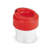 Hot-but-cool koffiebeker met deksel 240ml - Wit / Rood
