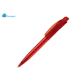 Balpen Cube transparant - Transparant Rood