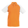 Baseballpolo orange / white 3xl
