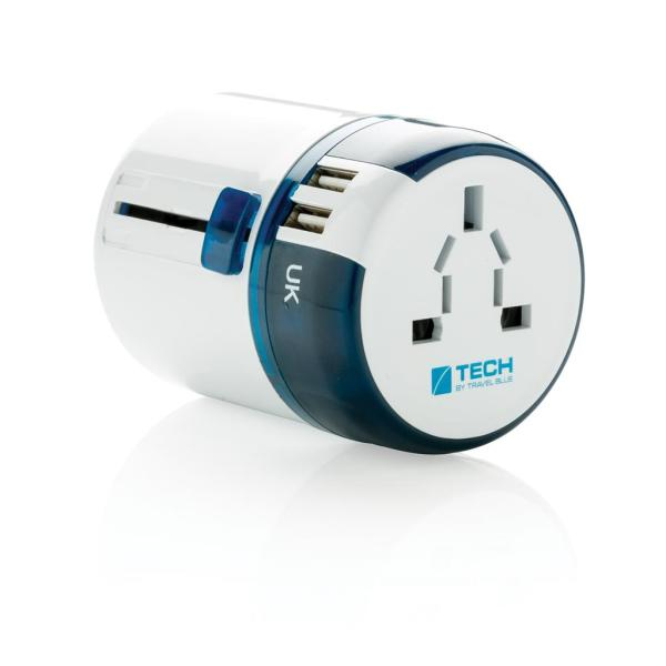Bedrukte Travel Blue world travel adapter USB, wit