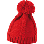 Cable knit pom pom beanie red one size