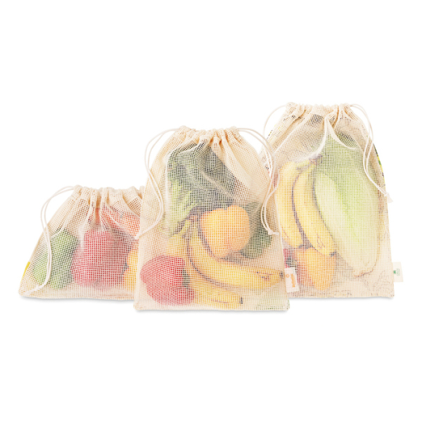 3Op aanvraagpieces grocery cotton bag set