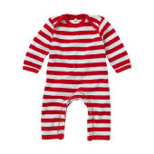 Baby Striped Rompasuit - Red/Washed White
