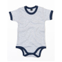 Baby Ringer Rompertje 12-18 Monate Light Grey Melange/Nautical Navy