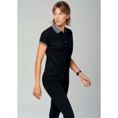 Dames-sportpolo sporty grey / black l
