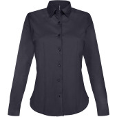 Dames stretch blouse lange mouwen navy s