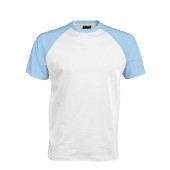 Baseball - tweekleurig t-shirt white / sky blue m