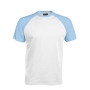 BASE BALL > T-SHIRT BICOLORE MANCHES COURTES white / sky blue M