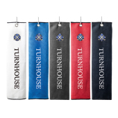 Microfibre Waffle trifold Golf Towel in 5 different Colors with Horizontal Embroidery