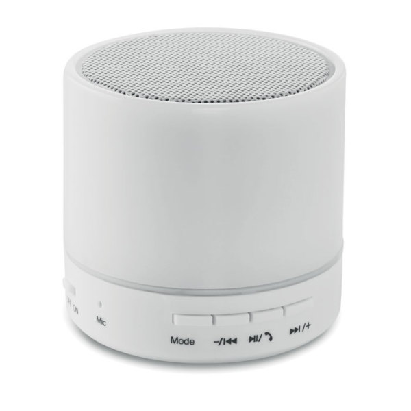 ROUND WHITE - Round wireless speaker LED