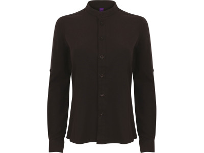 Ladies' mandarin shirt with roll-tan sleeve