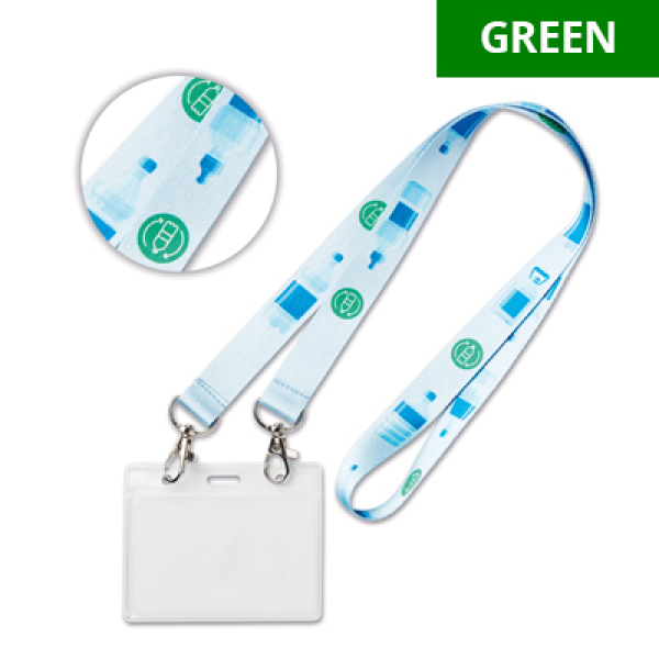 Recycled PET, sublimation lanyard with 2 metal hooks. 8 days delivery*