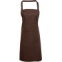 Colours bib apron with pocket brown one size