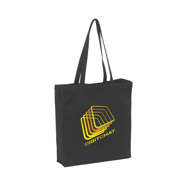 Black shopper/winkeltas met lange hengsels - Canvas