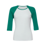 3/4-Sleeve Contrast Raglan T-Shirt XL White/Kelly Green