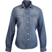 Dames denim blouse lange mouwen blue jean m