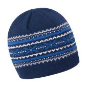 Aspen Knitted Hat - Navy/Grey/China Blue/White