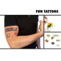 Tattoos size 7,62 x 7,62 cm  (fun tattoos, sun-tan tattoos and textile tattoos)