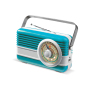 Powerbank 6000mAh & retro speaker 3W licht blauw / wit