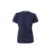 Ladies' Elastic Polo Short-Sleeved - navy/wit