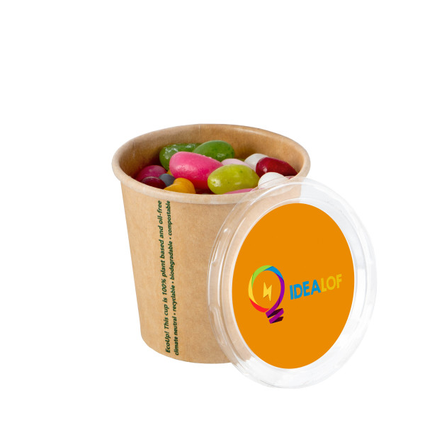 Bio karton beker jelly beans met full colour sticker