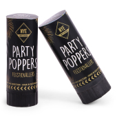 Partypopper Set /2 Black (Gold/Silver Steamers)