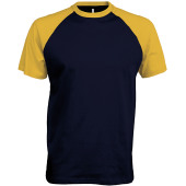 Baseball - tweekleurig t-shirt navy / yellow xl