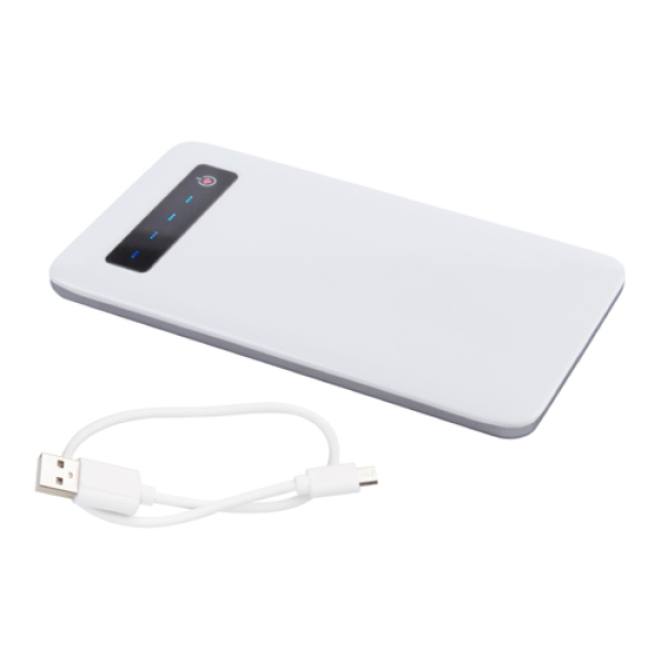 Osnel USB Powerbank 4000mAh wit - Met oplaadkabel