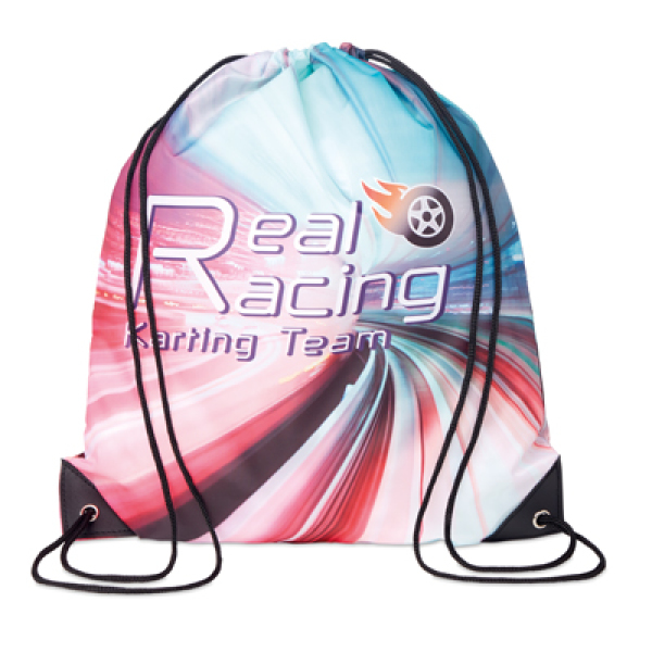 Drawstring bag with PU corners