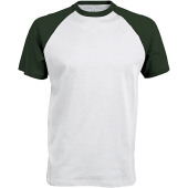 Baseball - tweekleurig t-shirt white / forest green s