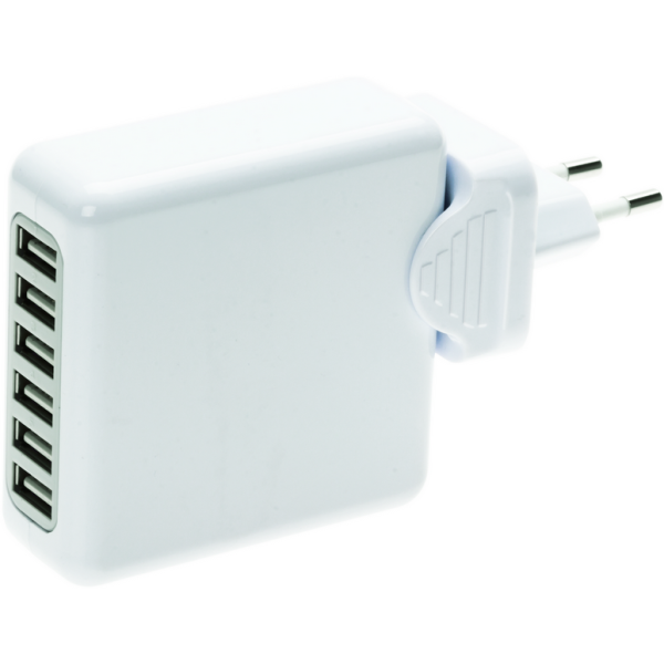 6 port USB charger with travel adapter plug