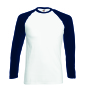 Valueweight L/S Baseball T , White/Deep Navy, L, FOL