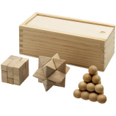 Brainiac 3-piece wooden brain teaser set