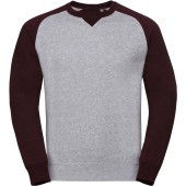 Authentic crew neck baseball sweatshirt light oxford / burgundy melange 'xxl